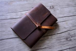 handmade brown leather bound journal
