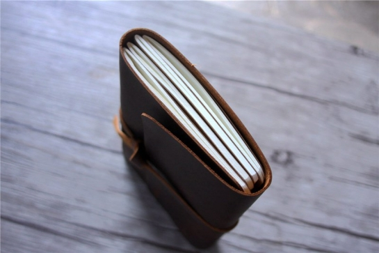 brown leather bound journal notebook