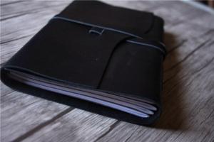 handmade black leather journal notebook