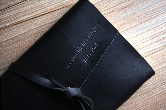 custom black leather journals