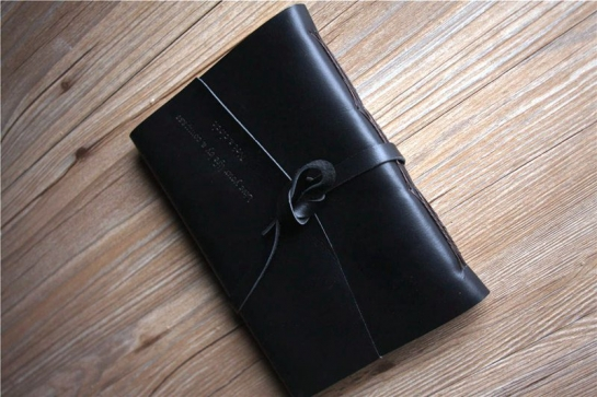 handmade black leather bound notebook journal