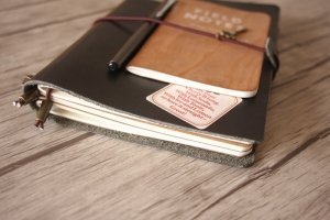 black leather diary journal