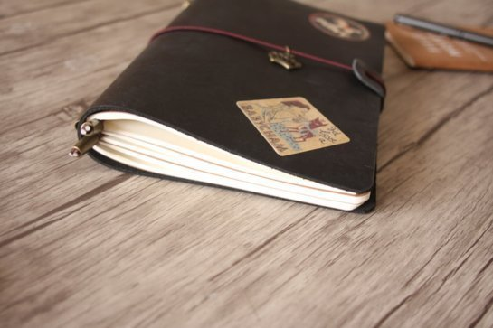 black leather diary leather journals