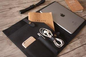 black leather travel organizer