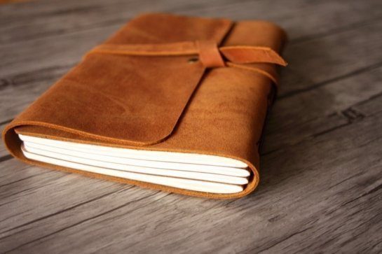 brown real leather photo album