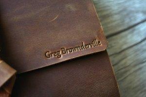 deboss name on leather travel journal