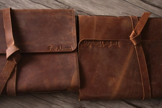 emboss names leather photograph albums