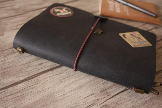 engraved leather black leather journal diary