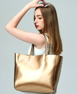 gold color large leather tote