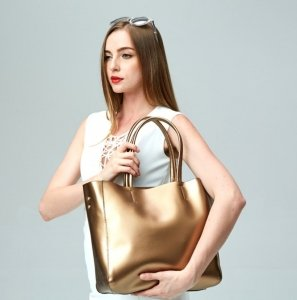 gold leather tote purse