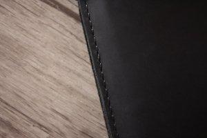 hand sewn thread on leather black portfolio