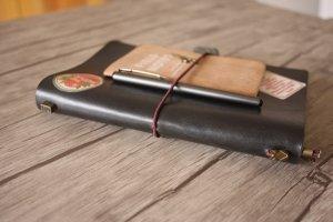 handmade black leather journals