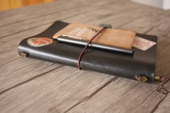 handmade black leather journals