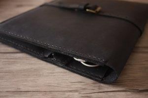 handmade black leather portfolio organizer