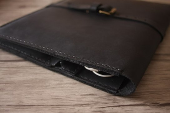 handmade black leather portfolio organizer