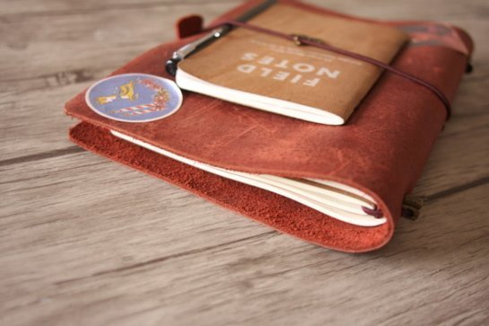 handmade red leather refillable sketchbook
