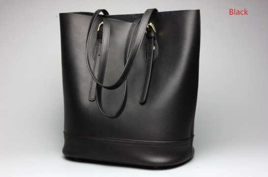 leather black and brown tote handbag