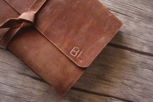 leather bound leather cover photo album