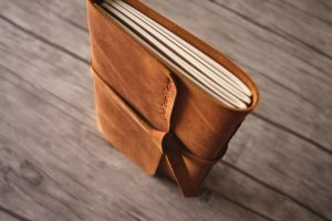 lined leather journal personalized