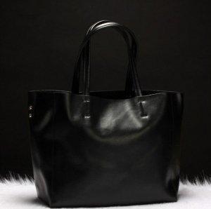 luxury black leather tote