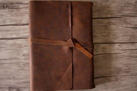 monogrammed leather photo album scrapbook