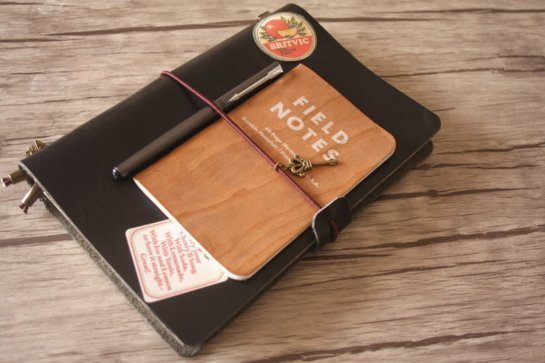 personalized black leather journal