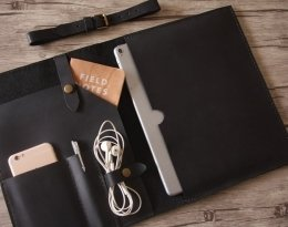 personalized black leather portfolio