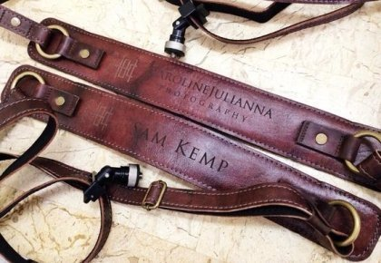 personalized leather padded camera strap