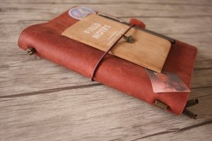 personalized leather red sketchbook