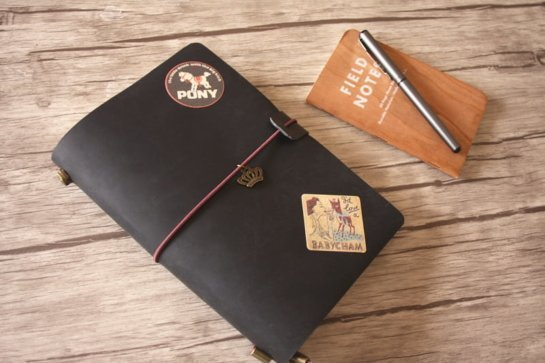 refillable black leather diary