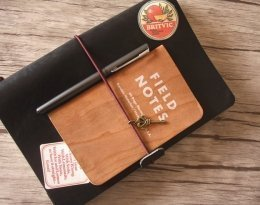 refillable black leather sketchbook