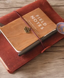 refillable red leather journal