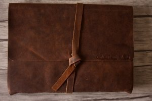 rustic monogrammed leather photo album