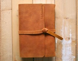 Engraved leather notebook refillable