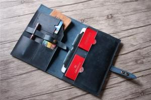 blue leather portfolio distressed vintage