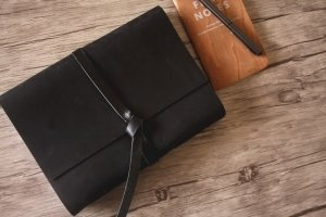 black leather personalized writing journals