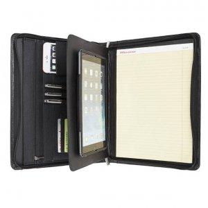 black leather portfolio folder