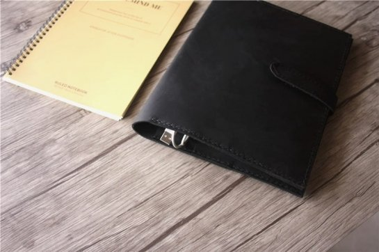 black leather portfolio leather case