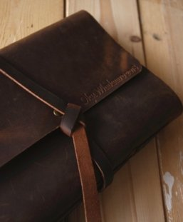 brown leather bound notebook
