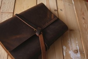 brown leather custom wedding albums