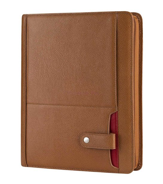 brown leather portfolio case