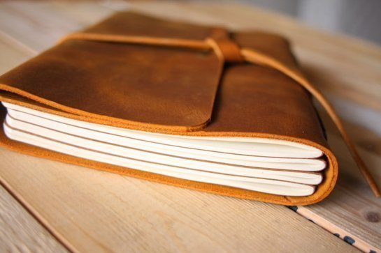distressed leather notebooks