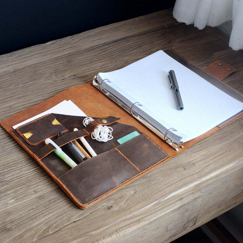 Personalized leather planner binder