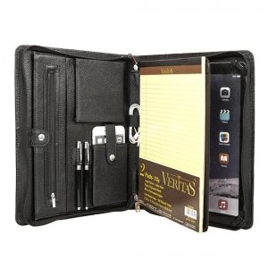 leather portfolio zipper closure