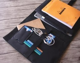 monogrammed leather folio