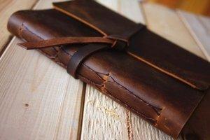 rustic leather bound custom wedding albums
