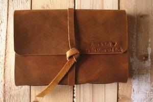 vintage leather photo album book