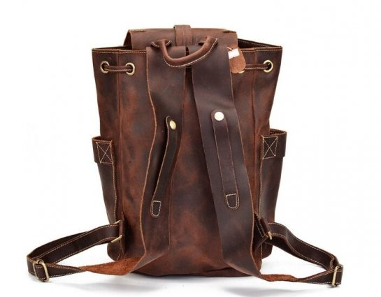 leather knapsack
