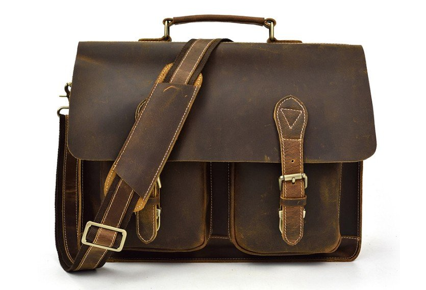 Distressed Mens Leather Work Bag Business Briefcase