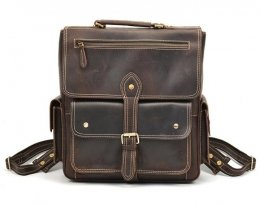 brown vintage real leather backpack